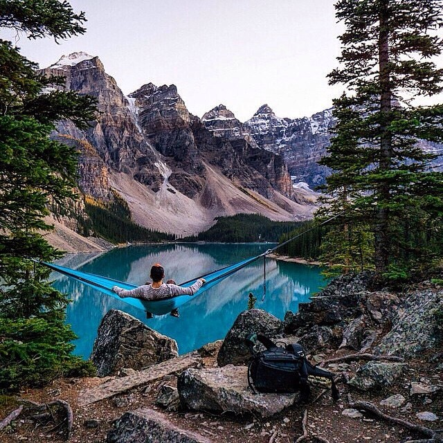 #LifesABeach   Relaxing at Moraine Lake, Canada is @chrisburkard's beach, where's yours? #WheresYourBeach #Kameleonz #GoPro #GoProHaven #Lake #Relaxing #Hiking #Nikon #Canon #ThisIsMyBeach