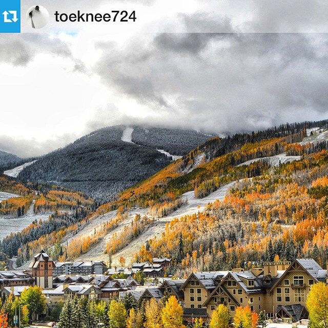 When the seasons collide in #Colorado it makes for some pretty spectacular scenery - we are loving this shot from  @toeknee724 of @vailmtn getting us stoked for winter #winteriscoming #vailsnow #fall #vail #vailmountain #vailmtn #winter #snow #ski ...