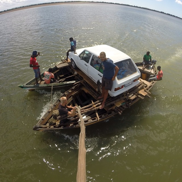 "Local ferry, Mozambique style. Photo by Beernt Berghuis who wrote, ""The boat ride took about an hour to get to the other side during which we had to navigate around hippos and bail water."" Shot using the Jaws: Flex Clamp, a stick found in the boat and..."