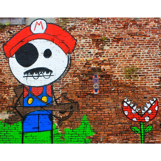 """It's-a-me, Mario!"" #jellyskateboards #mario #graffiti #keywest #florida"