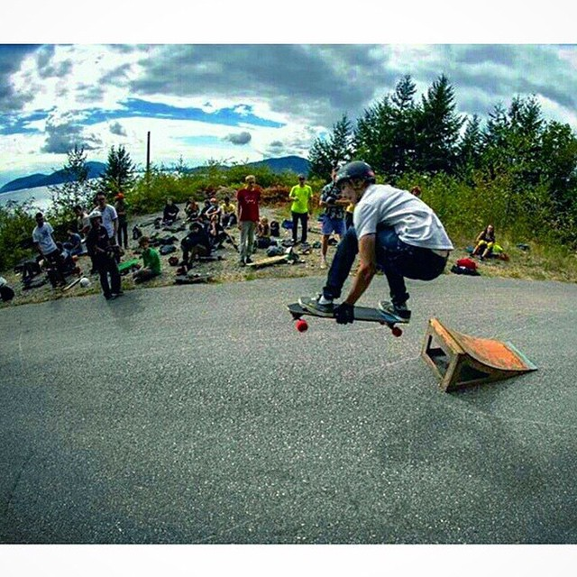 #regram from @liammcleod17. Getting some air time on a Stalker up in the great white north! Original photo by: Oliver Bashonga  #dblongboards #dbstalker #topmount #longboarding #slidejam #kicker #ramp #air #bigair #airborne #style