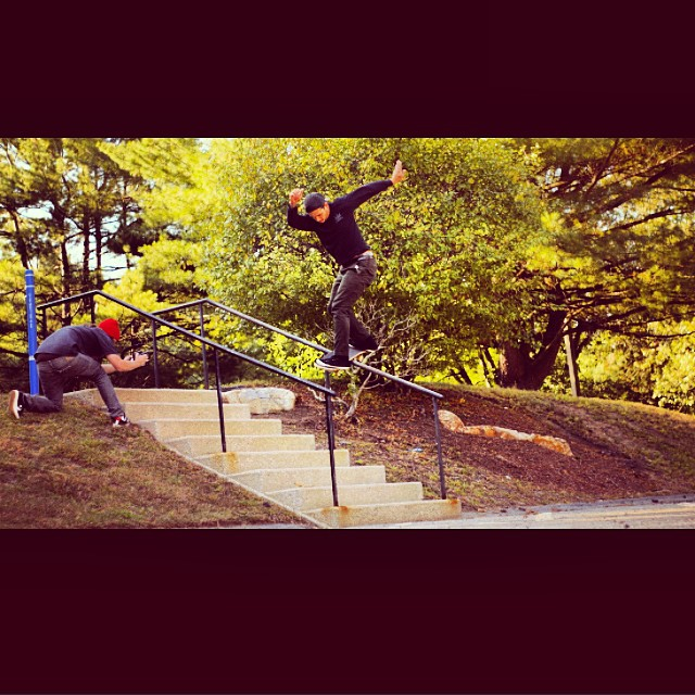 @tryfelyf Slice and dices through a backside lipslide while filming for the A-Ok promo. Photo: @paulryanbohl