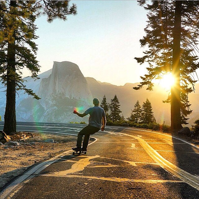 #ThisIsMyBeach | Crusing down Glacier Point, Yosemite. Where's yours? #WheresYourBeach #Kameleonz #Skateboarding #GlacierPoint #Yosemite #GoPro #GoProHaven #Nikon #Canon #Colors #Fall #Blog #LifesABeach pic by @chrisburkard