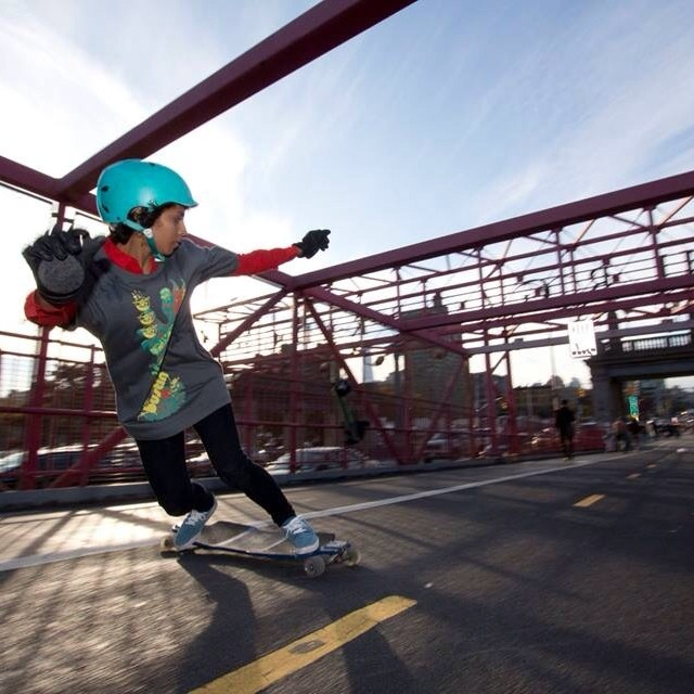Carla Javier @cj1218 skating #BrooklynBridge! Pic by Rob Rodriguez. We love #NYC