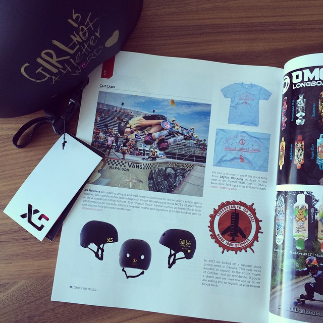 Thrilled to be featured in @concretewavemag this month! Pick up a copy and check out our XS x @girlisnota4letterword Collab helmet available in November! #girlswhoshred #skate #xshelmets #skatebikeboardski #forgirls