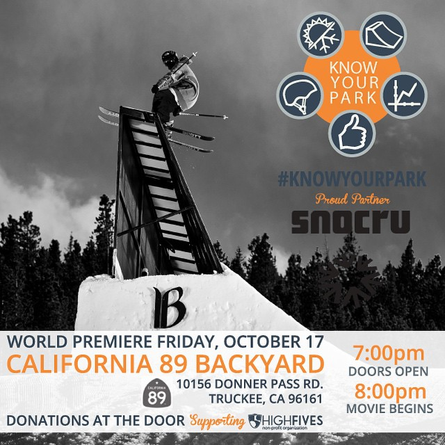 Thank you @snocru! Come watch the World Premiere of #KnowYourPark, promoting park safety at @cahwy89 on Oct 17! #donationbased