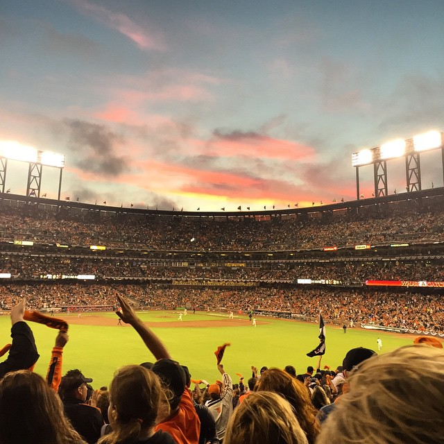 Beautiful night for a ballgame - thanks @mazmussenstate for the tickets #playoffbaseball #sanfranciscogiants #SFGiants #sanfrancisco #fall #NLDS #baseball #octobertogether #postseason #sunset #sunsetchaser
