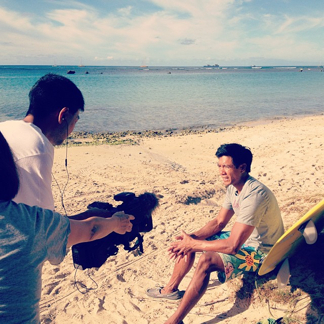 #organik designer interview for Japanese TV, web and print for 11/16 launch. #jwxo #jams x #organikclothing shorts #vintage #aloha print + made in #Hawaii. Location: #alamoana #beach park.