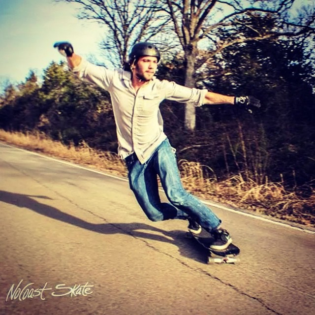 Team rider @andrewpletan with a killer toeside on his robot special! Photo by: @rachaelross  #dblongboards #atlastruckco #atlastrucks #nocoast #nocoastskate #longboarding #downhill #freeriding #robotspecial #toeside