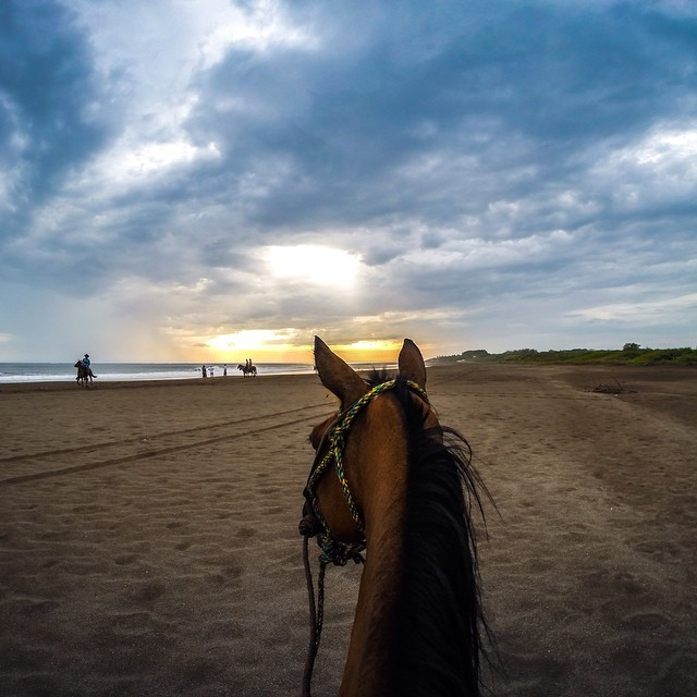 Photo of the Day! Sunset horseback ride the beaches of Nicaragua. Photo by @moliverallen.