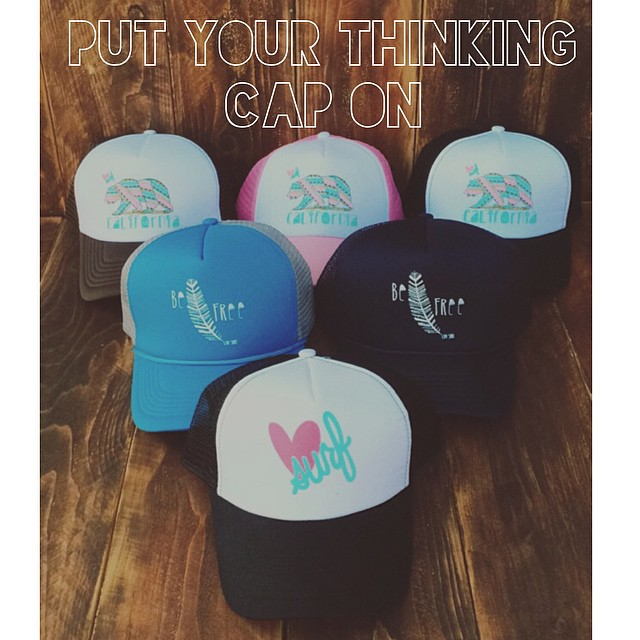 We've got your thinking caps... #luvsurfapparel #befree #wearthecalidream #truckerhat #calibear