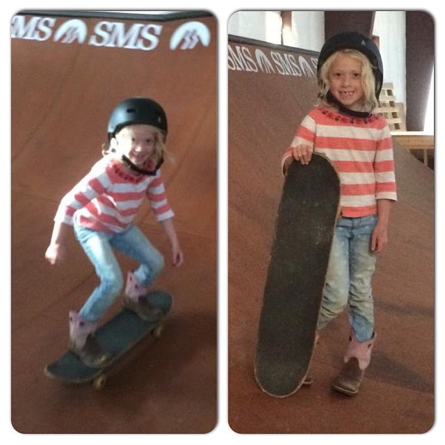 This is 7-year-old Meredith rocking the cowboy boots. Meredith is the daughter of Ross Powers, #Olympic gold medalist in #snowboard #halfpipe. Keep shredding Meredith!