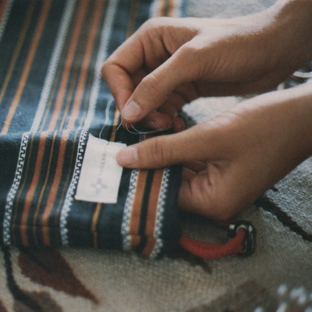 Back to work @sagebrushbags. Organic cotton labels on vintage fabric, shot by @amado_s for @_terasu_