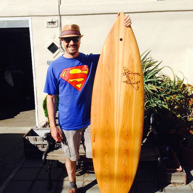 SSurf board member Adam stepping up his game at Ocean Beach, SF this Fall - with a new shirt... And a new step-up plank from Chet Frost @pacificislandssurfboards . This hollow wood board was crafted from reclaimed wood from an old bridge in Vancouver...