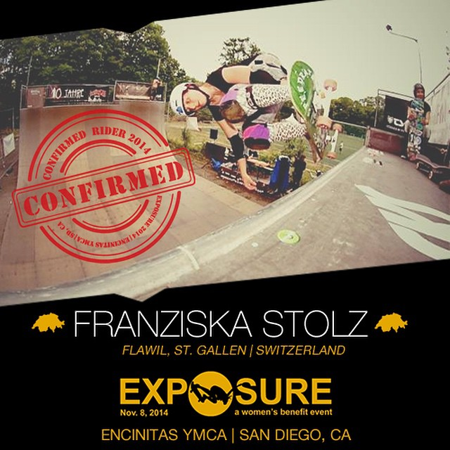 Confirmed for #EXPOSURE2014! --- Franziska STOLZ Birthplace: Flawil, St. Gallen, Switzerland Hometown: Basel, Switzerland Resides: Basel, Switzerland Started Skating: 1997 Hobbies: Knitting, sewing, photography Sponsors: Speedrats Wheels and Boards,...