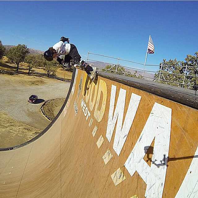 Gaby Ponce (@gabyskates), nosegrind on the mega at @woodwardwest.