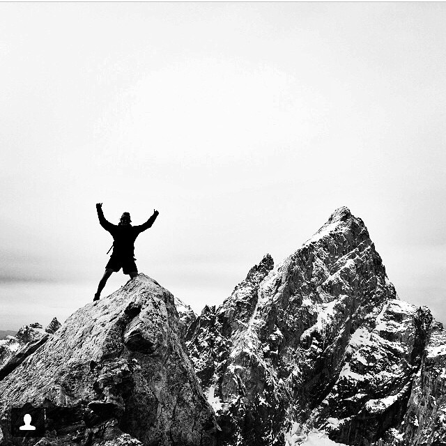 Give'r ambassador @johnny.dubs captured during a celebratory dance atop Teewinot Peak after ascending 5,600 ft in 2.5 miles along with @cathnix and @robtmcc this weekend. Congrats Give'rs! #brutaldecent #tetons #jacksonhole #climbing #mountaineering