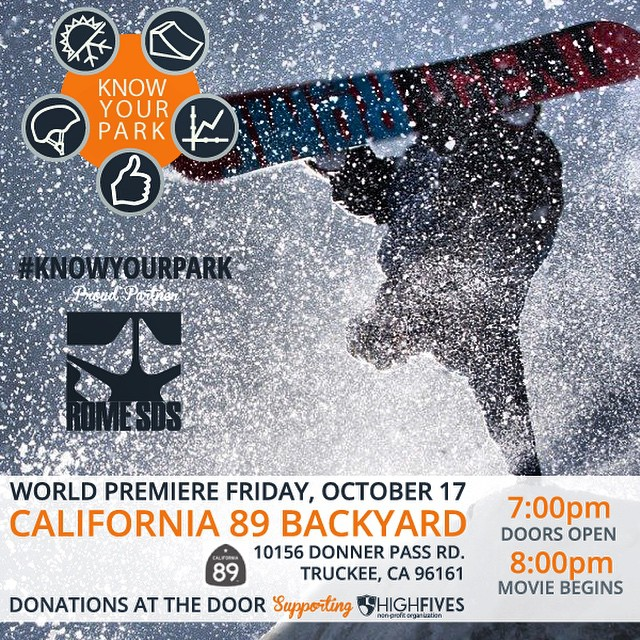 Join in on the outdoor cinema showing of #KnowYourPark w/ proud partner @romesnowboards! | At @cahwy89 on Oct 17 | #donationbased