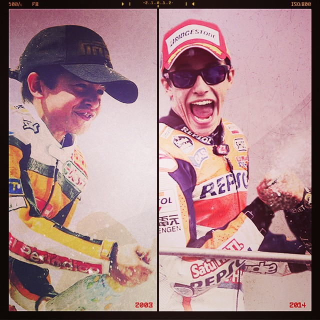 Same rider, 11 years and two #MotoGP world titles apart. Congratulations @marcmarquez93.