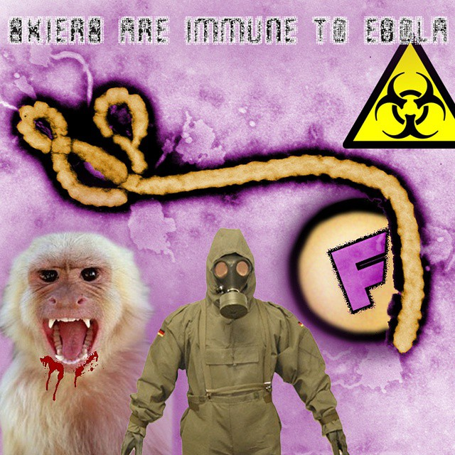 #breakingnews! This just in, skiers are IMMUNE to the #Ebola  virus according to The Center for Disease Control. It is still unclear whether snowboarders will be unaffected by the #virus...