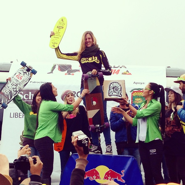 Congratulations to @spokywoky for her 1st place victory at the #FestivalDeLaBajada on a surprise crazy race track! You go girl! Keep your eyes peeled for her killing it in Peru in the next few weeks! #LoadedBoards #Orangatang #Kegels #Truncated #Tesseract