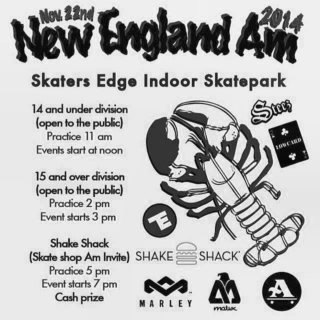 @newenglandam is goin down on Nov. 22nd at @skatersedgeskatepark @anthonyshetler #14andunder #15andover #cashprizes @donnybarley @westgatebrandon @nickdompierre