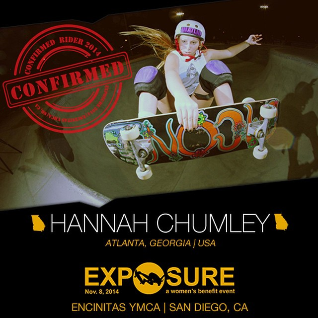 Confirmed for #EXPOSURE2014! --- Hannah CHUMLEY @gothsriracha Birthplace: Atlanta, GA Hometown: Atlanta, GA Resides: Atlanta, GA Started Skating: 2008 Hobbies: Guitar, yoga --- Register now to compete at www.exposureskate.org/?page_id=1426