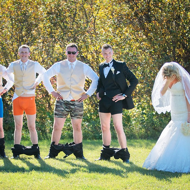 Landon Gall and his groomsmen drop their pants on the big day! There is always time for #permissiontoplay - congrats boys you won our final week of the contest!