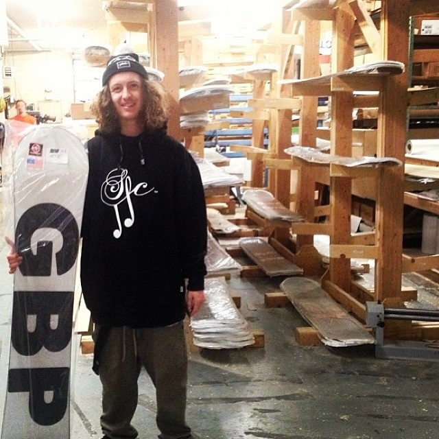 @matt_douglass picking up the @gbpgremlinz boards- we couldn't be more stoked on this crew- doing it for real.the racks are thin after shipping the last of our North American shops. Check out the #bussit Reno premier Friday night at #Sheasreno...