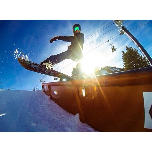 Smokin team rider @greydinsgram board sliding his #smokinsuperpark board at @mammothunbound