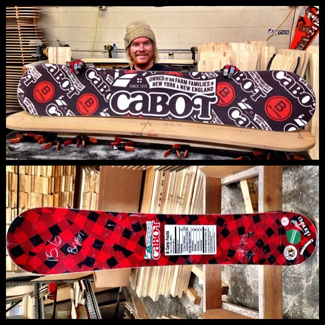 Most of our crew including me are from Vermont and have grown up on Cabot cheese. We jumped at the opportunity to make some custom decks for the fine folks @cabotcheese. They love our boards, we love their cheese! #cabotsharpchedder #forridersbyriders...