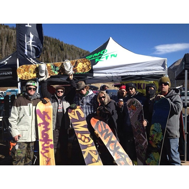 The Smokin Crew at #lovelandpass for the first chance for people to demo our new boards - reports back are that people are hyped. #forridersbyriders #handmadelaketahoe
