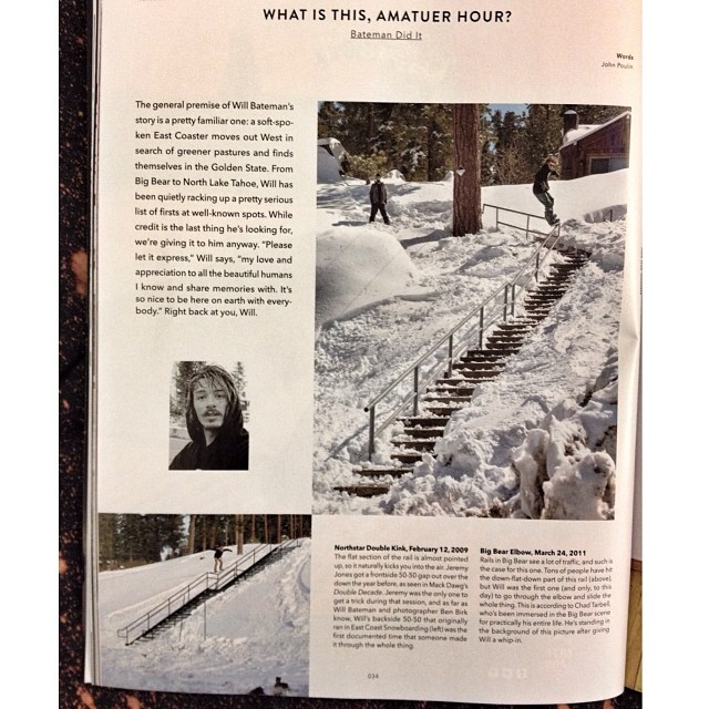 "Big ups to our newest rider will bateman @organized_konfusion for his full page praise on some dope never been done shit in the new @twsnow mag! Will says ""please let it express my love and appreciation to all the beautiful humans I know and share..."