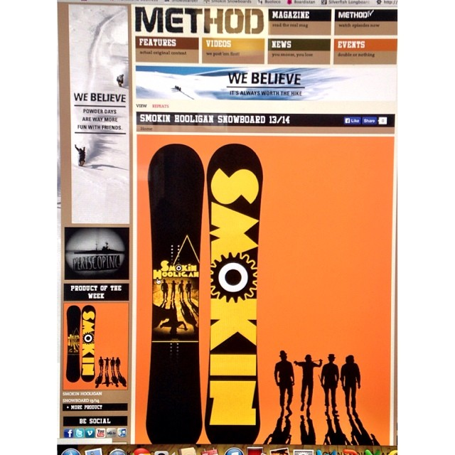 Win a #Smokinhooligan at methodmag.com , thanks @methodmag crew for the love- board of the week this week, and some #clockworkorange movie clips to check out as well to give you a feel for where the graphic theme came from. #forridersbyriders...
