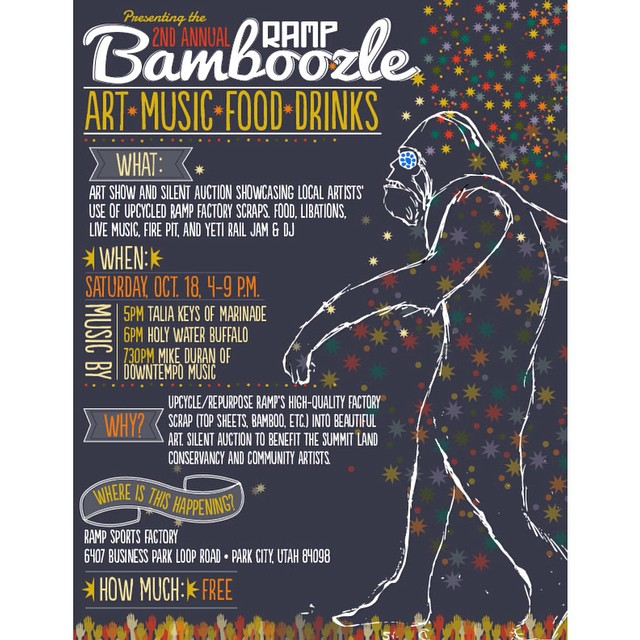 Utah! - Don't miss the 2nd annual @rampsports #Bamboozle this Saturday here in Park City. __________________________________ Celebrate a zero-waste, closed loop mentality with a silent auction of tastefully repurposed and up-cycled art pieces to...