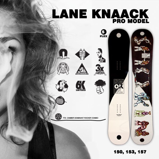 @laneknaack is without a doubt one of the nicest guys in snowboarding and after 7years as a Smokin Pro Rider we are happier than ever having him involved. Lanes Pro Model  is midwide for extra float and bigger riding platform. It sports a prime list of...