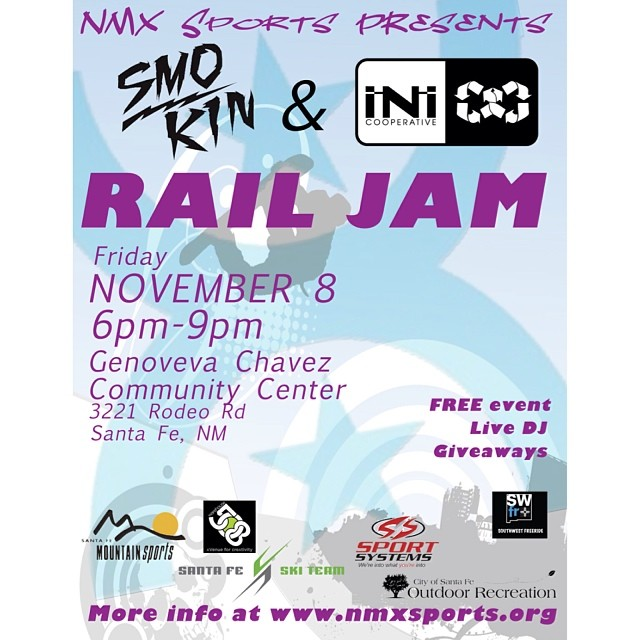 Catch the first rail jam of the year in the Southwest , happening in Sante Fe  New Mexico - brought to you by #SmokinSnowboards and @inicooperative
