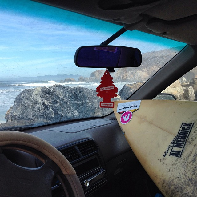 "My two BFFs and I on a road trip! #2001civic #2001surfboard --- I'm a fan of the ""gently used,"" they need lovin too! #rockaway #pacifica #sorryOBiwasscared #surf #bikini"