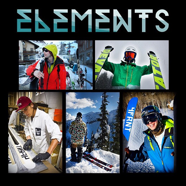 ELEMENTS STREAMING LIVE IN 1 HOUR AND 50 MINUTES. Contest: the first person to name every trick that @t_hayne does in his segment ON THIS PHOTO will win a $100 gift card to 4FRNT.com #riderowned #shapingskiing