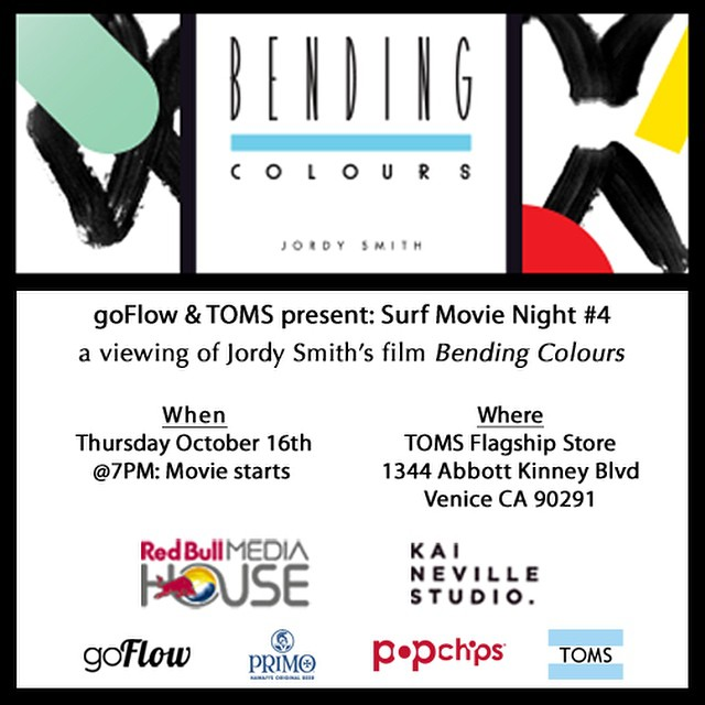 "Tonight is the night that goFlow and @tomsflagship are hosting another Surf Movie Night at the TOMS Flagship Store in Venice. Feel free to stop by and catch Jordy Smiths film ""Bending Colours"" @7PM. The last few Surf Movie Nights have been a ton of fun..."
