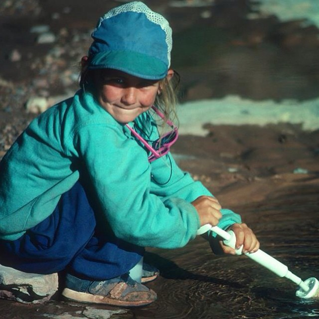 Helping papa filter water in India...great alternative to plastic bottles:) #throwback  How's my oldschool @patagonia outfit? And rocking pink sunglasses!