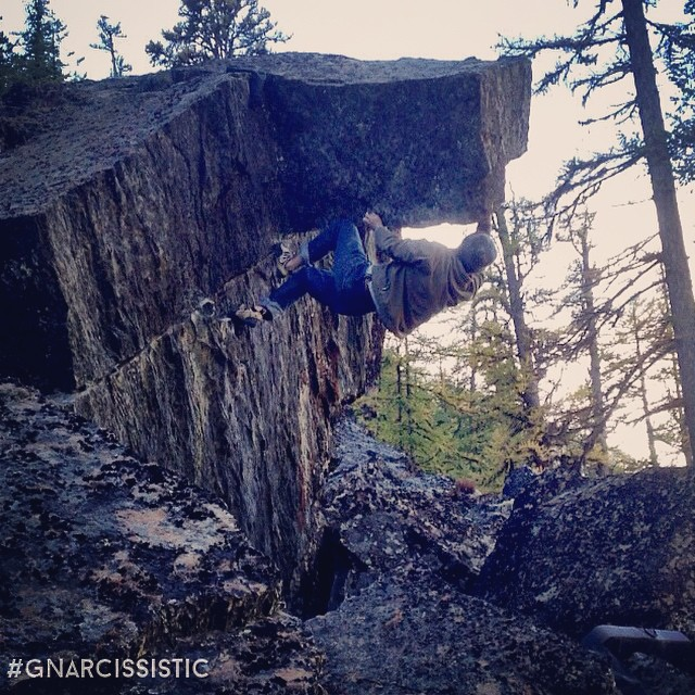 Funky project freshly scrubbed by @drewmagoo66. Bouldering!  Place: Perry Creek Boulders, BC
