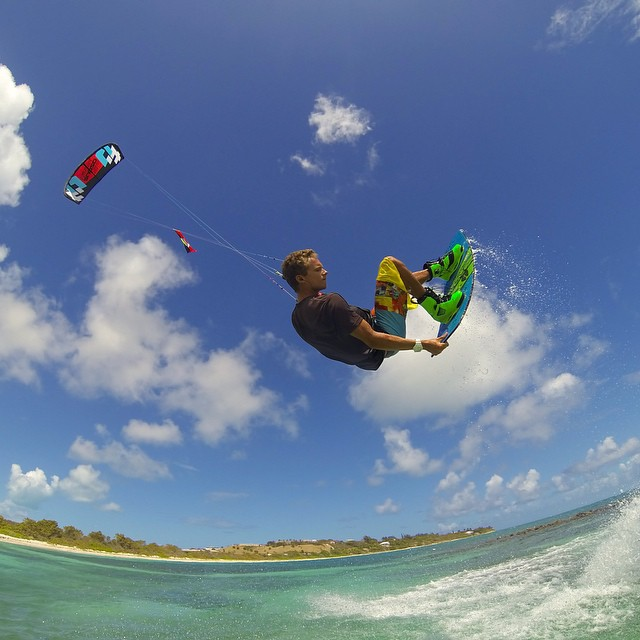 Photo of the Day! @JakeKelsick grabbin' some tail in Antigua. #kiteboarding