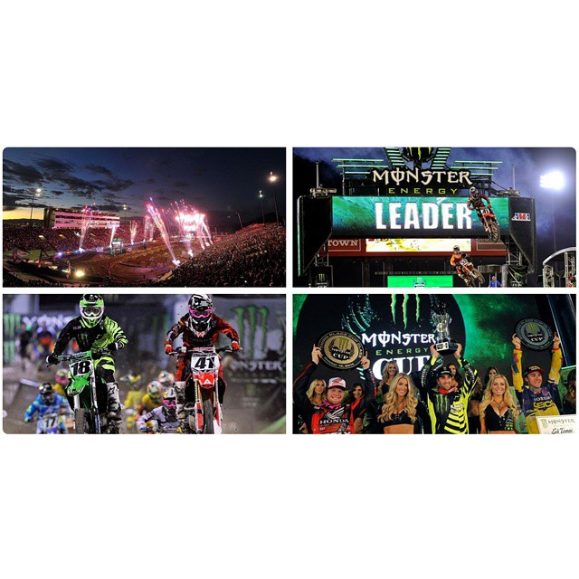 The #MonsterEnergyCup lit up Las Vegas!  Click the link on our profile page to check out the action. (Photos via Getty Images)