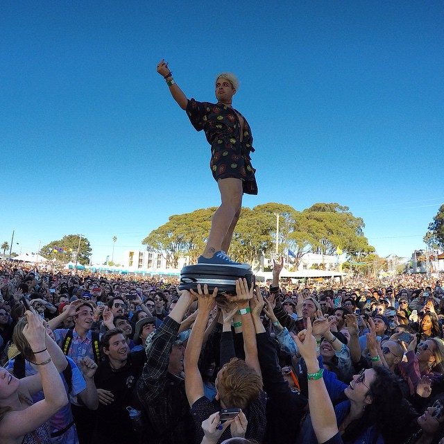 @Dmtina_ from the @losgrowlers surfs over the crowd! Thank you to everyone who came by the #GoProMusic booth at the Treasure Island Music Festival. We had blast! Photo by @polaroidmisha. @timfsf
