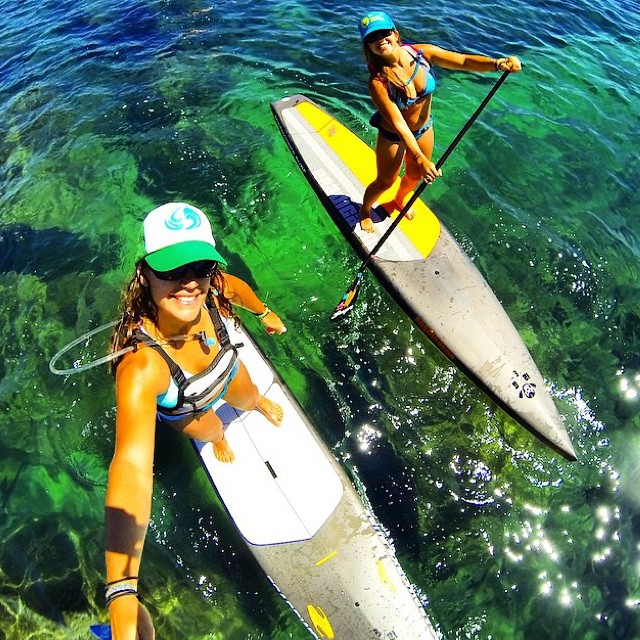 Local Honey team riders @nautilussup and @lindsay_gonzalez_ having fun on the water as usual! #localhoneydesigns #natalizollinger #lindsaygonzalez #keeptahoeblue #crystalclear #water #blue #green #sup #laketahoe #california #athletes #beautiful #love