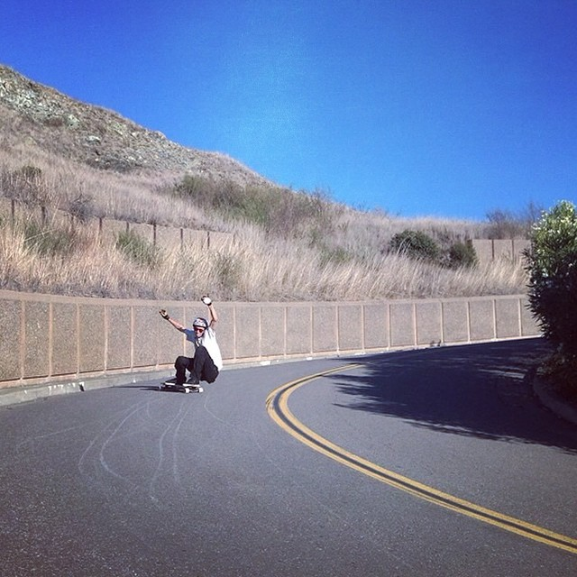 Team rider Chad Lybrand--@ragnars_world ripping a lefty with no hands.  #chadlybrand #bonzing #urbanshredsled #sanfrancisco  #skateboarding #shapers #artists