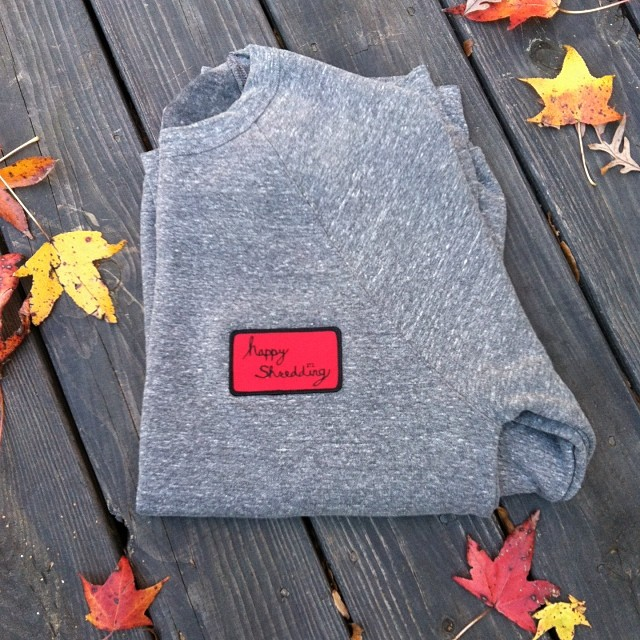 """One off wed."" ... LargeHeather grey crew neck with happy shredding patch, $40 ... Only one like this available. Email info@mystz.com to claim it! #stzlife #crewneck #oneoffwed #limited #winterishere"