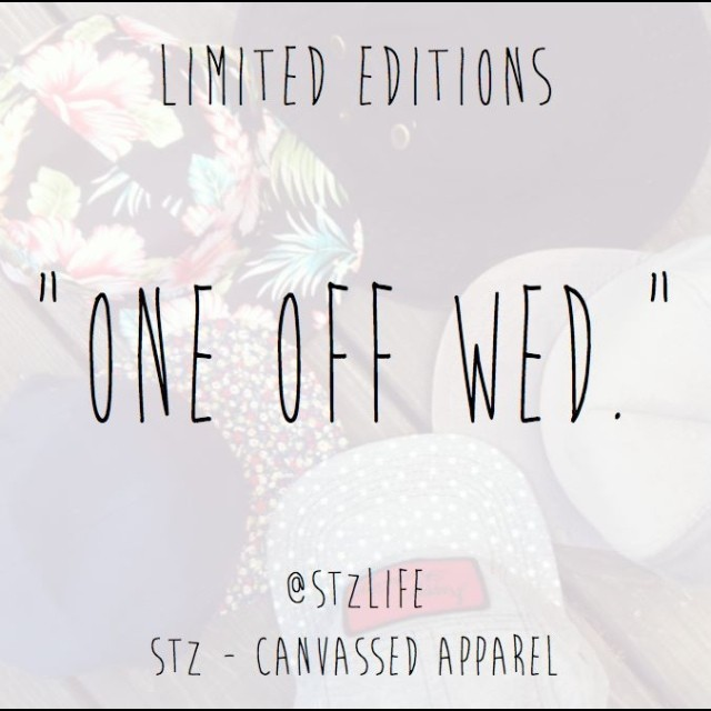 """One off Wed."" ... Be sure to check back Wednesdays to get limited 1 of 1 products! First to email info@mytz.com will get invoice, if not paid in 2 days it goes to next person. #stzlife #oneoffwed #limited #oneoffs #snapbacks #hoodies #happyshredding..."
