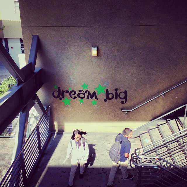 A well placed reminder for students at Animo Jackie Robinson in Los Angeles! #DreamBig